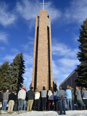 University of Great Falls students, staff and faculty gather alongside members of the Great Falls community for a memorial bell ringing to honor Dr. Martin Luther King Jr.