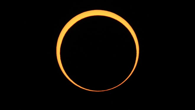 The moon appears to cover the sun during an annular eclipse of the sun on May 20, 2012 as seen from Chaco Culture National Historical Park in Nageezi, Ariz.