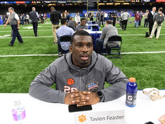 Clemson running back Tavien Feaster (28) during media