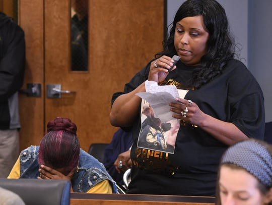 Christshanda Webb speaks on behalf of her family and