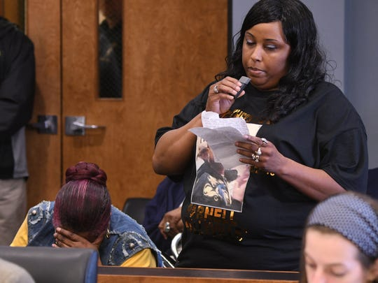 Christshanda Webb speaks on behalf of her family and late brother during the sentencing of Marcelluis Luckie and Christen Ramirez on Wednesday.