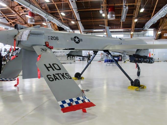 A rear view of a MQ-1 Predator at Holloman Air Force