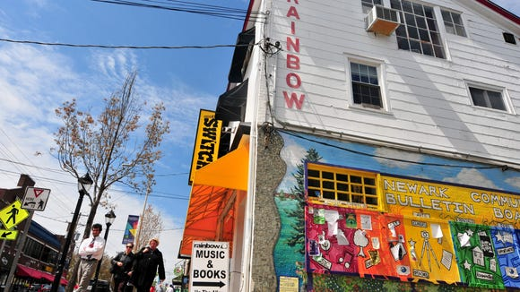 Rainbow Records in 2013 before construction next door closed the alley and the store's main entrance.