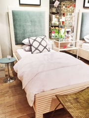Mr. Brown London has a Belmont twin bed with a velvet-upholstered