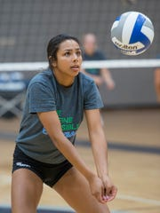 Freshman Kierra Potts during volleyball practice at the University of West Florida on Monday, August 28, 2017.