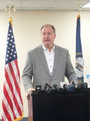 Kentucky Speaker of the House Jeff Hoover, voice often choked with emotion, resigned from his leadership post at a press conference in the state Capitol in November 2017.