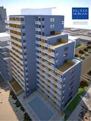A 13-story Quality Inn hotel expansion on 33rd Street in Ocean City is shown in this architectural rendering.