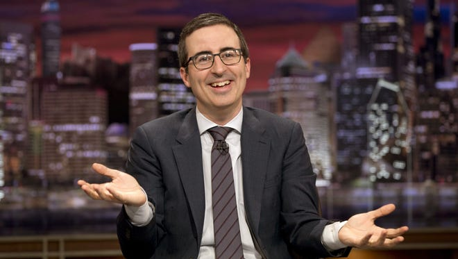 "John Oliver on the set of ""Last Week Tonight with John Oliver."""