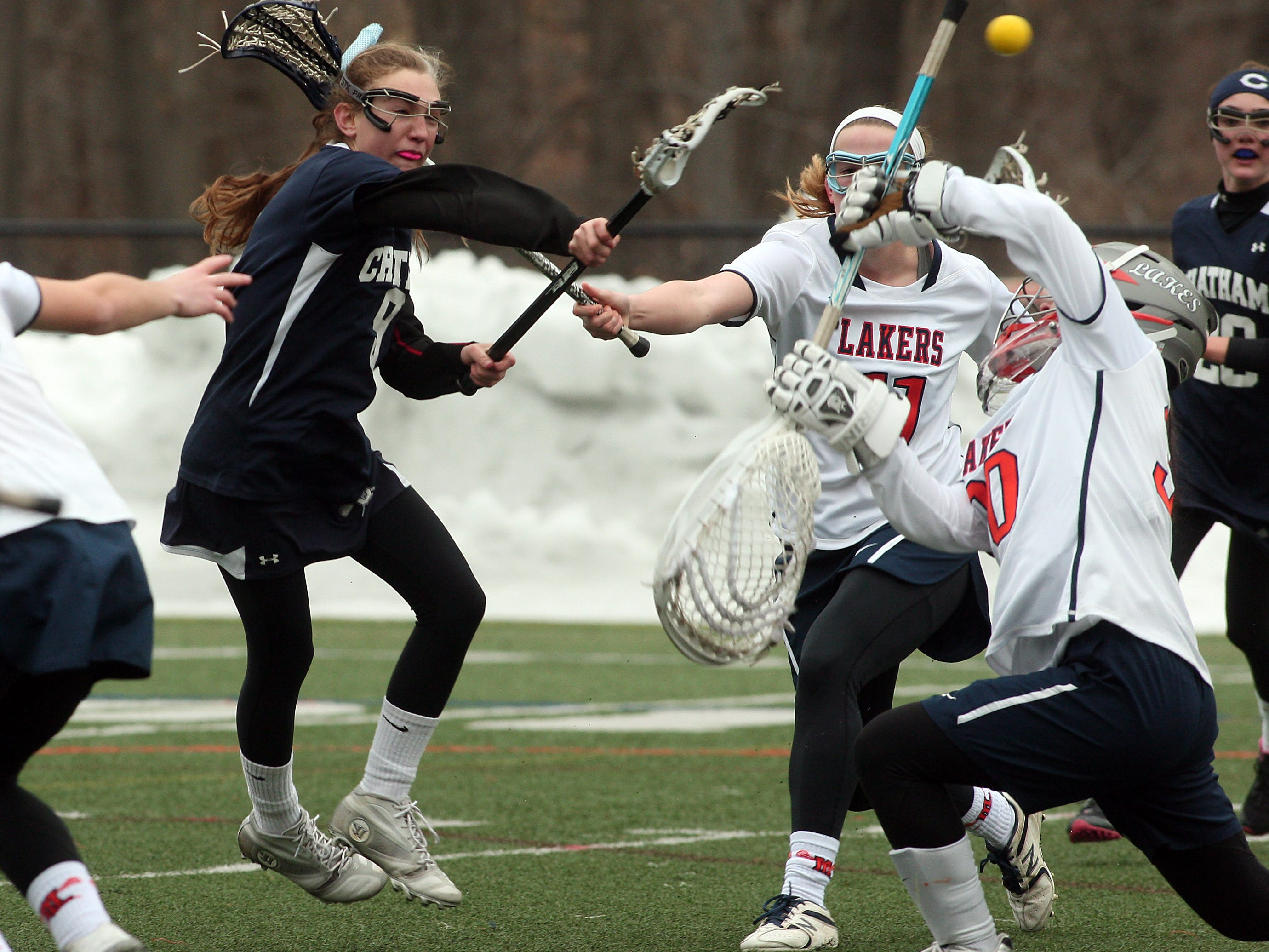 Chatham's Schuyler Bixby shoots and scores against Mountain Lakes on March 25. The two teams will play in the Morris County Tournament final on Saturday.