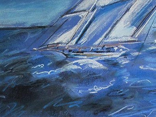 """Sailing,"" pastel by Ethel Davis, part of the ""New Guard"" exhibit at Meadows Art Gallery in Sister Bay."