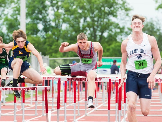 Bermudian Springs' Trevor Grim competes in the boys' 2A 110 meter hurdles during the PIAA District 3 track and field championships at Shippensburg University on Saturday, May 20, 2017. Grim came in second place with a time of 15.52.