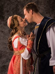 """Betsy Mugavero plays Juliet and Shane Kenyon plays Romeo in the Utah Shakespeare Festival's 2017 production of """"Romeo and Juliet."""""""