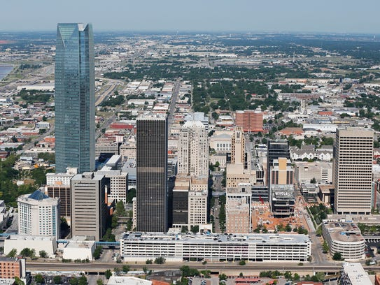 The Oklahoma City skyline is pictured in a 2014 aerial