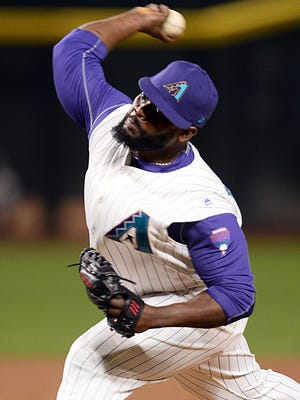 Arizona Diamondbacks relief pitcher Fernando Rodney (56) pitches against the Pittsburgh Pirates during the ninth inning at Chase Field, May 11, 2017.