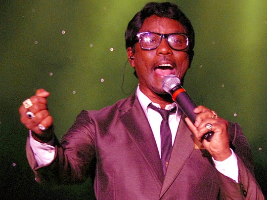 Kenny Jones portrays Sammy Davis Jr. in the Rat Pack show on stage at Harrah's.