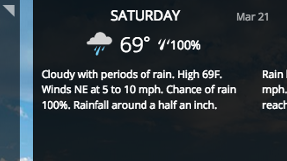 The Weather Channel says Jackson has 100% chance of rain on Saturday. Other sites say the chance is closer to 70%.
