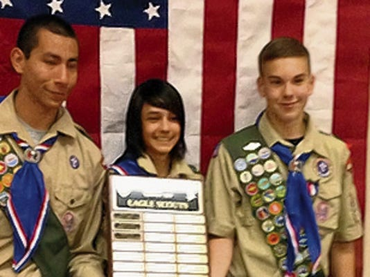 Deming's newest Eagle Scouts are, from left, Andrew Vigil, Robert Quillman Rogers III and Roger Kemp.