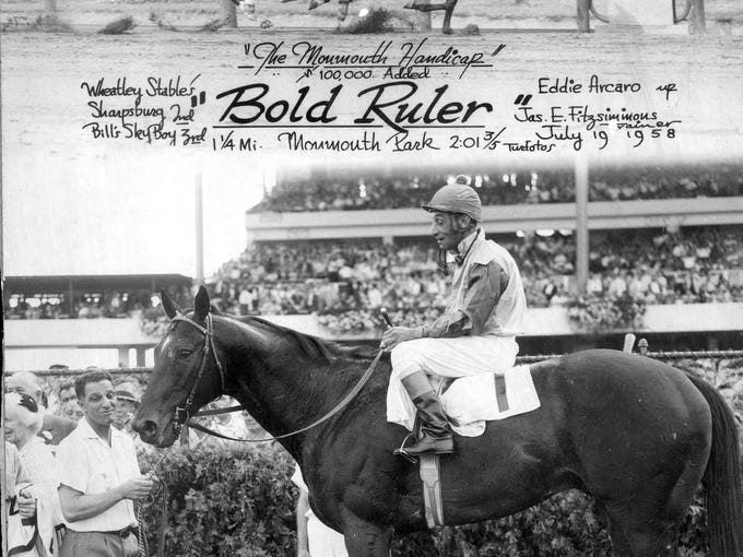 A 1958 winner's circle photo of Bold Ruler and Eddie
