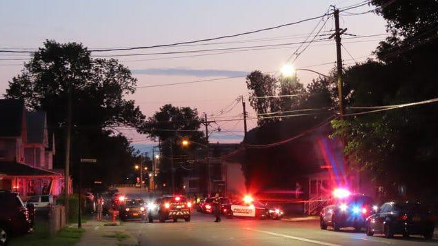 Police on Fowler Street in Port Jervis Wednesday.