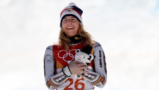 Gold medal winner Ester Ledecka of the Czech Republic flashes a smile.