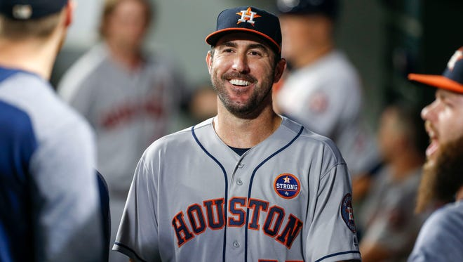 Justin Verlander is all smiles after winning his Astros debut.