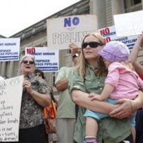 Bluegrass Pipeline opponents rallied against the natural gas liquids pipeline in February in Frankfort.