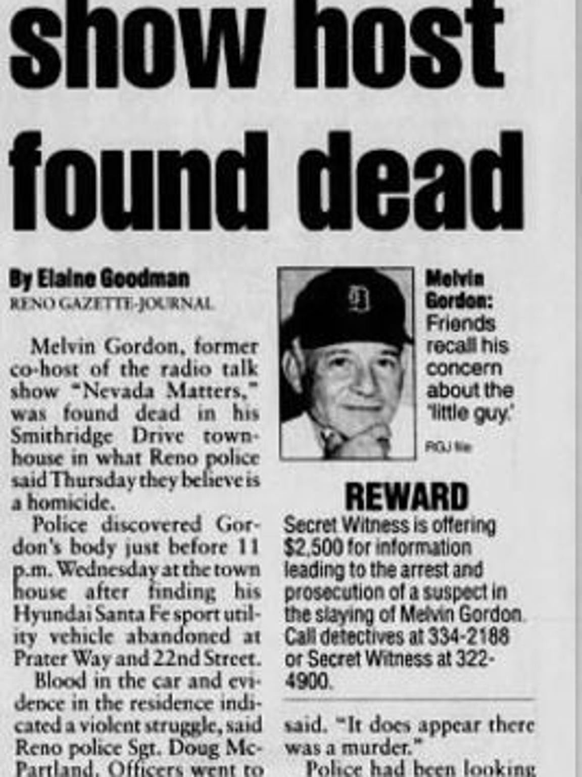 The original article on Mel Gordon's death appeared in the Sept. 27, 2002 edition of the Reno Gazette-Journal.