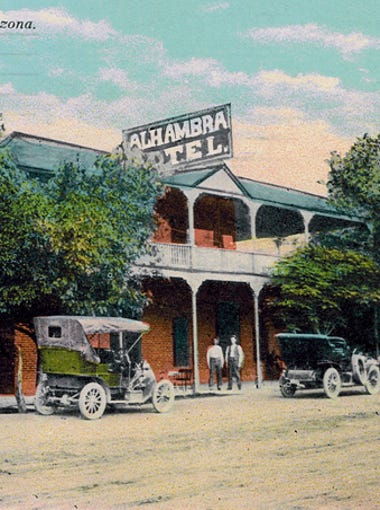 A postcard shows the historic Alhambra Hotel in its early days, about 1910.