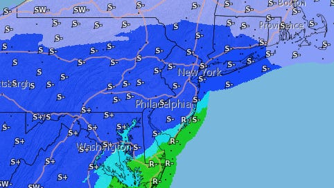 National Weather Service models forecasts show that nearly the whole state of New Jersey could get snow during the winter storm this weekend.