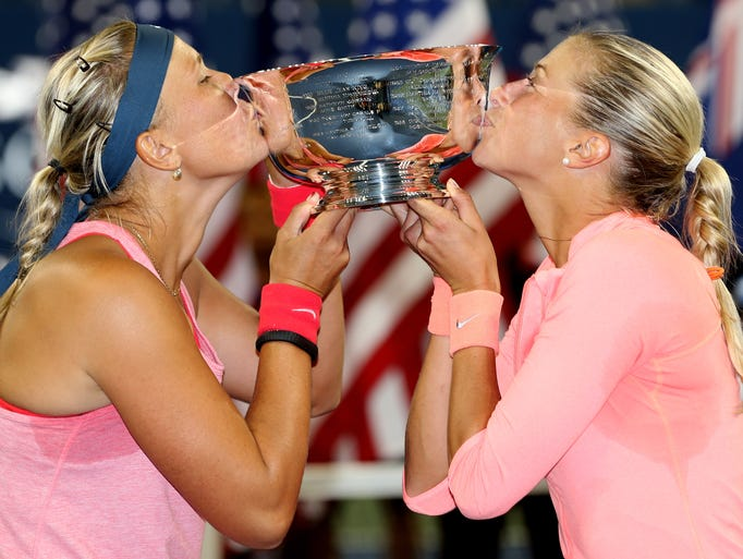 Andrea Hlavackova, right, and Lucie Hradecka of the Czech Republic after winning the women's doubles title.