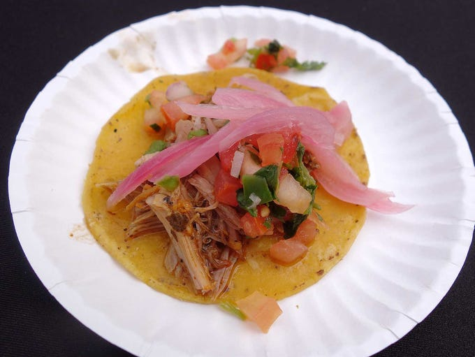 Tacos cochinita with achiote marinade, salsa Yucatan