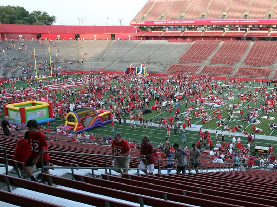 Rutgers's High Point Solutions Stadium. pictured during a 2014 party thrown to celebrate the university's entry into the Big Ten.