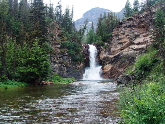 Running Eagle Falls in Glacier National Park is named