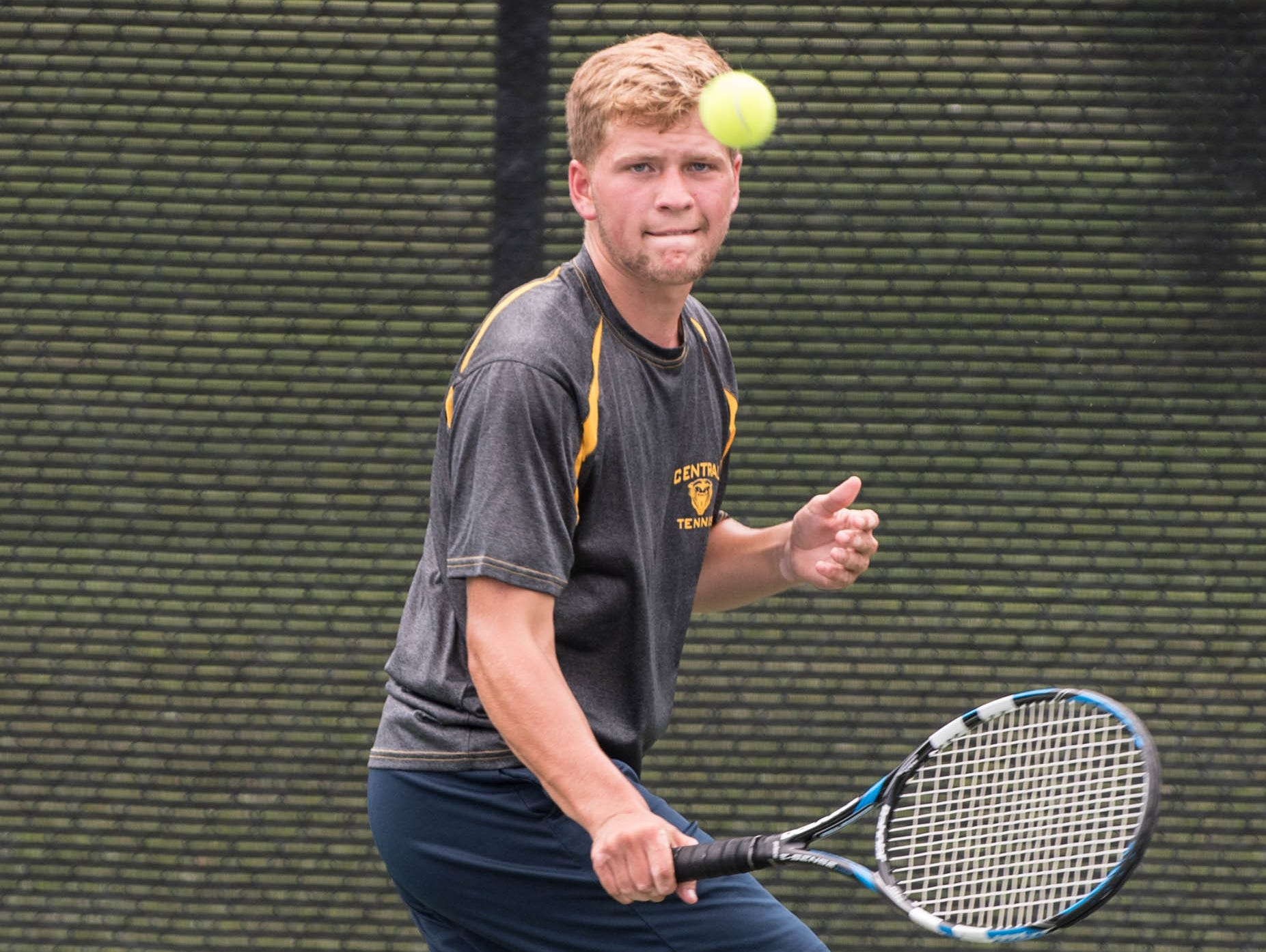 Battle Creek Central's Riley Crammer during the All-City Tennis on Aug. 25.