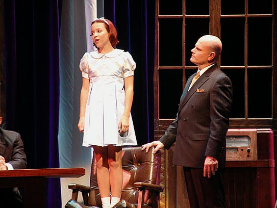 "Bobb Cooper as Daddy Warbucks in ""Annie"" with Valley"