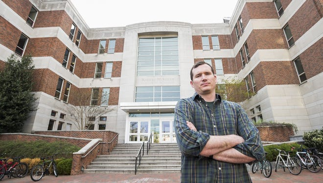 Colin Goddard, Virginia Tech shooting survivor turned anti-gun-violence activist outside the University of Maryland Robert H. Smith School of Business.