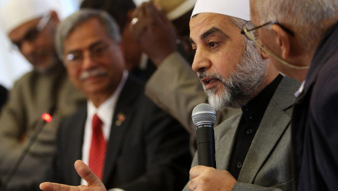Imam Mohammad Qatanani of the Islamic Center of Passaic County, is among the leaders from the New Jersey and New York Muslim community gathered to condemn the attacks in Paris during a press conference, Tuesday, November 17, 2015, at Rutgers University in Piscataway.