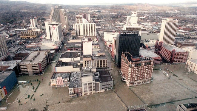 The Truckee River flooded many businesses in downtown Reno Jan. 2, 1997.