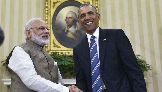 President  Obama shakes hands with India's Prime Minister Narendra Modi during a meeting in the Oval Office on Tuesday.