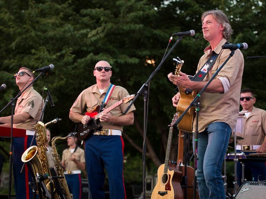 Darryl Worley performs during the Marine Week opening ceremony at Public Square Park on Sept. 7, 2016, in Nashville.