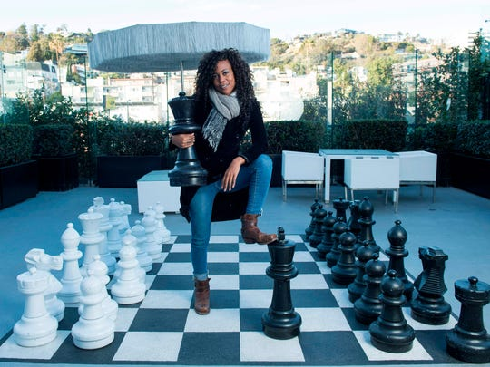"Hannah Beachler, a production designer, poses in West Hollywood, California. Beachler designed Wakanda, the ""Black Panther"" fictional African home and world."