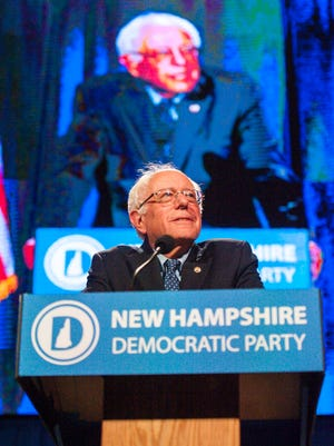Democratic presidential candidate Bernie Sanders speaks at the New Hampshire Democratic Party's 2016 McIntyre-Shaheen 100 Club Celebration at the Verizon Wireless Center in Manchester on Friday, February 5, 2016.
