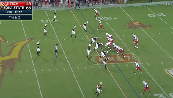 Texas Tech lines up in a four wide receiver set with