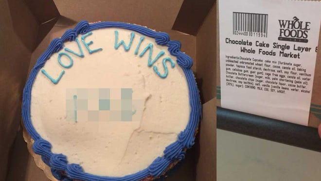 """A Texas pastor is suing Whole Foods because he said a bakery worker at its Austin store wrote a gay slur in addition to the requested phrase """"Love Wins"""" on a cake he ordered. Whole Foods denies the allegation. The lawsuit was filed Monday, April 18, 2016, stemming from the incident Thursday, April 14, 2016."""