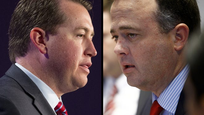Arizona Treasurer Jeff DeWit (left) and Kirk Adams, Gov. Doug Ducey's chief of staff.