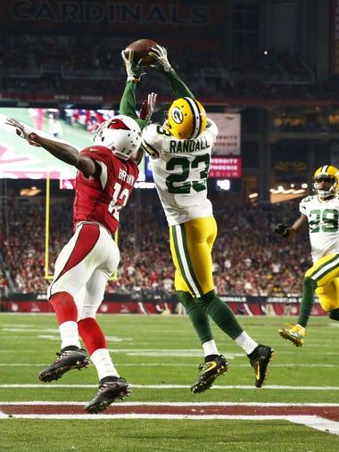 Green Bay Packers' Damarious Randall intercepts a pass
