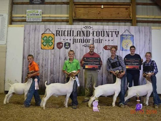 Hayden, Logan, Kiley and Savanna Harriman of Ontario with goats the siblings showed in 4-H competition at the Richland County Fair. Judge Charles Robison and oldest sister Madeline Harriman hold trophies.