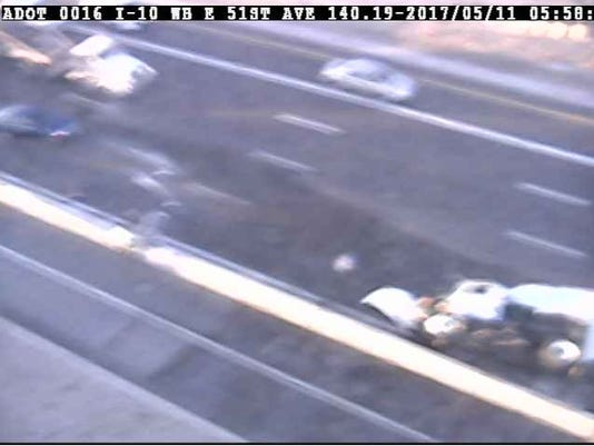 Interstate 10 street sweeper rollover blocks lanes