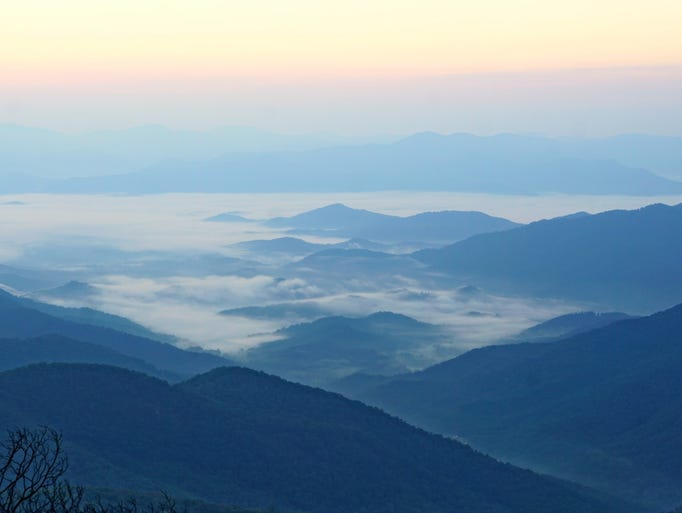 The view from Wayah Bald as the sun rises.