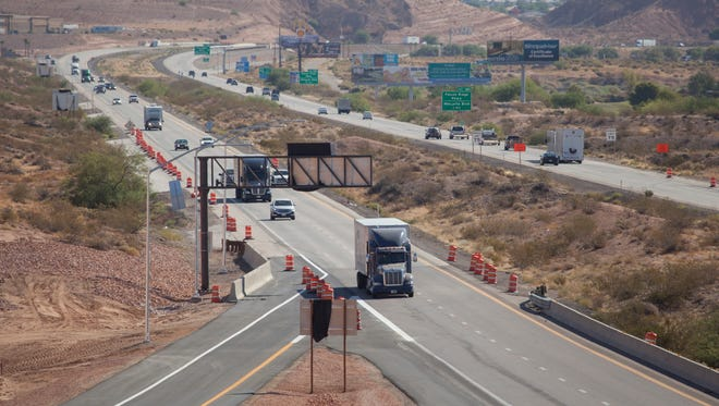 Traffic flows along Interstate 15 through Mesquite in this Thursday, July 21, 2016 file photo. Nevada joined the ranks of states offering an 80 mph speed limit this week. But for now, the higher speed limit only exists in the northern part of the state.